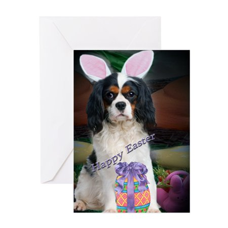 CafePress - Cavalier King Charles Happy Easter A - Greeting Card, Blank Inside Glossy