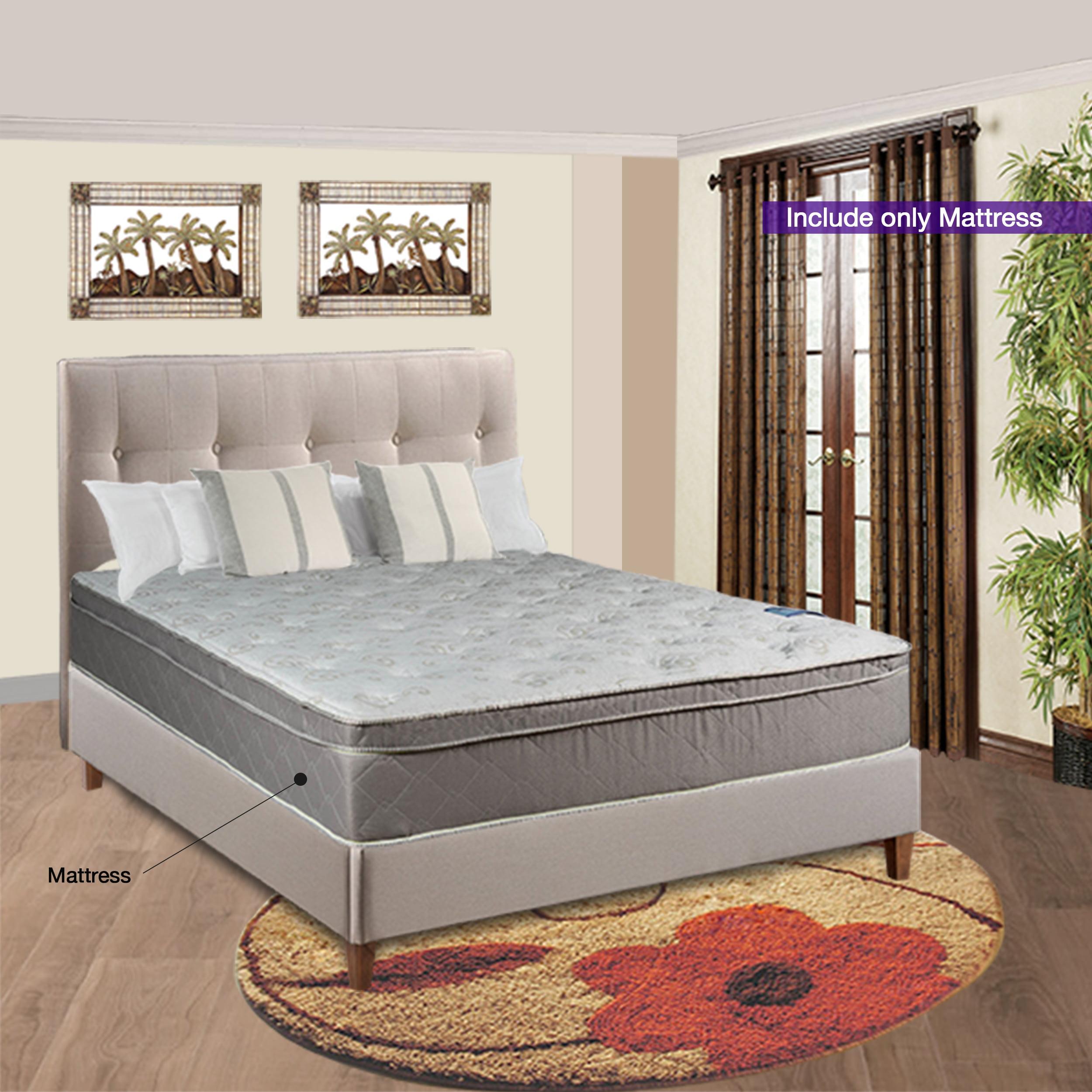 "Continental Sleep, 10"" Fully Assembled Pillow Top Eurotop FOAM ENCASED Medium Plush Innerspring Mattress, Twin Size"