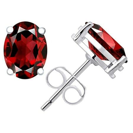 0.9 Carat Oval Cut Red Garnet 925 Sterling Silver Stud Earrings