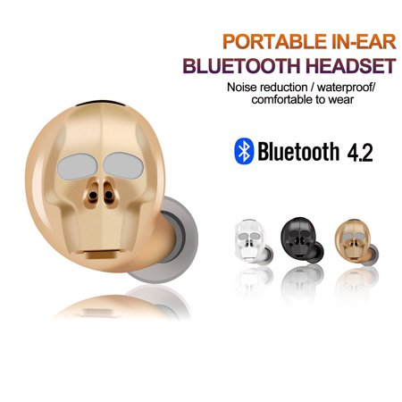 AGPtek Mini Wireless Earbuds Bluetooth 4.2 Headset Stereo Invisible Headphones with Mic for IPhone Samsung HTC ()