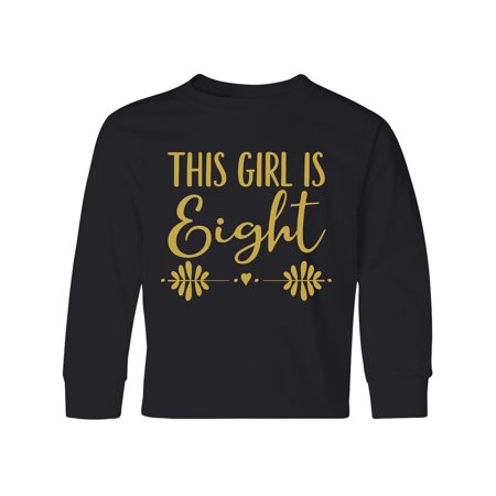 8th Birthday Gold Lettering Girls 8 Year Old Youth Long Sleeve - Christmas Gifts 8 Yr Old Girl