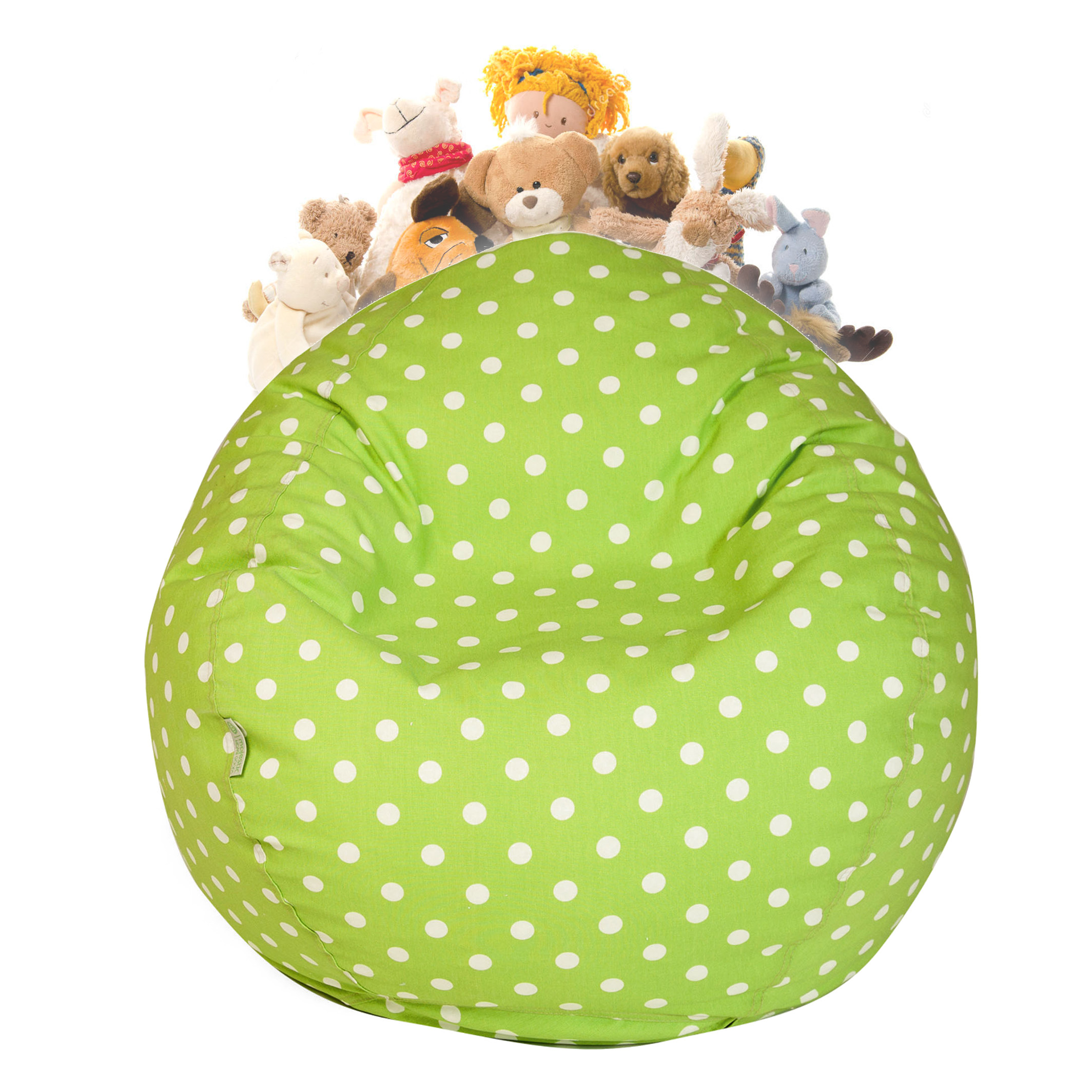 Majestic Home Goods Small Polka Dots Stuffed Animal Storage Bean Bag Chair Cover w/ Transparent Mesh Base, Multiple Colors