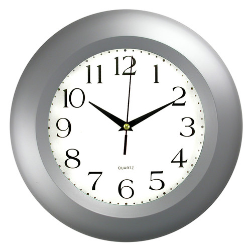 Round Wall Clock with Silver-Tone Frame