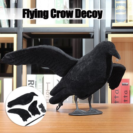 1/2x Crow Hunting Decoy Flocking Crow Scare Bird Away Detachable With Floater / Bouncer Pole Hunting Bait Garden Deco thumbnail