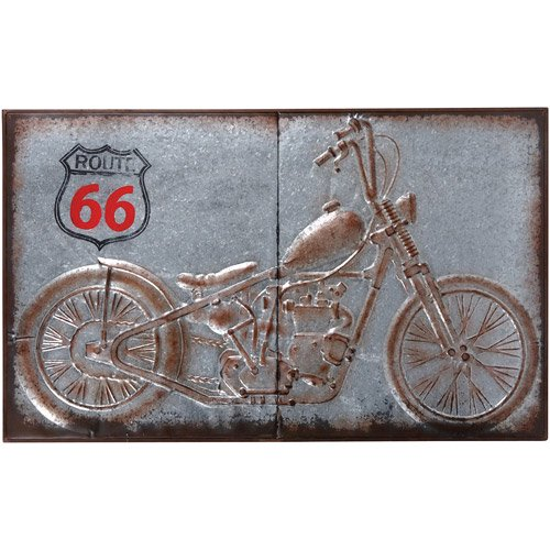 Wilco Home Decor: Wilco Motorcycle Galvanized Metal Wall Decor, Grey, Brown