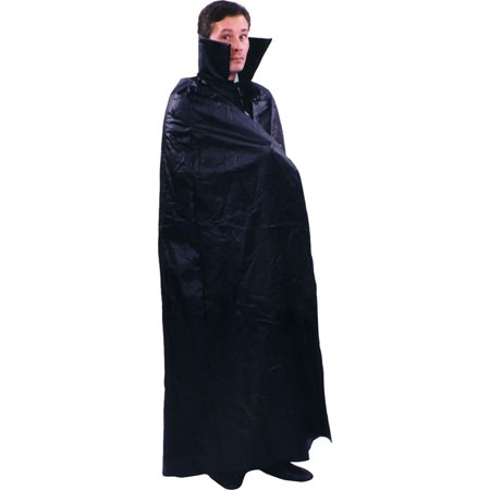 Morris Costumes Wmu Mens Stand Up Collar Cape Long black leather-looking cloth cape with stand-up collar and tie closure in front, Style AA128