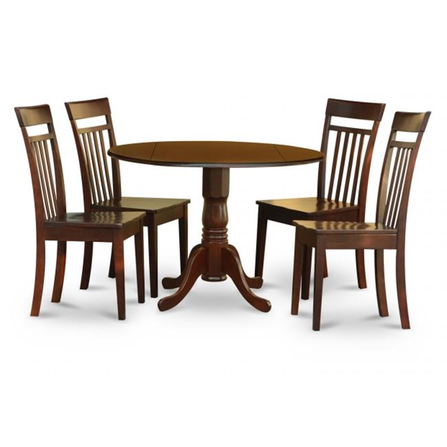 East West Furniture DLCA5-MAH-W 5PC Kitchen Round Table with 2 Drop Leaves and 4 Slatted-back Chairs with Wood Seat