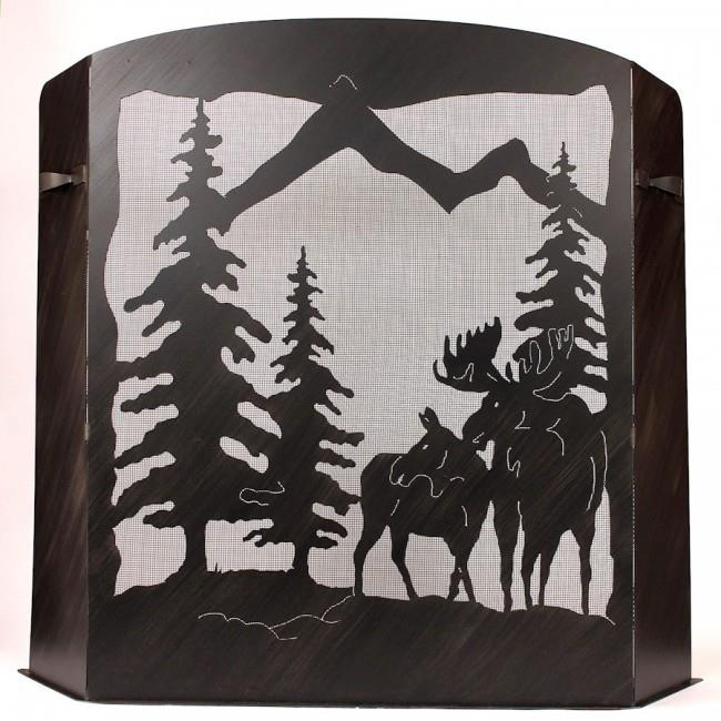 Coast Lamp Manufacturer 15-R29B-S Small Iron moose Scene Fireplace Screen by Coast Lamp Manufacturer
