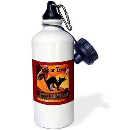 3dRose Black Cat on Pumpkins Trick or Treat Happy Halloween, Sports Water Bottle, 21oz - Sports Halloween Pumpkins