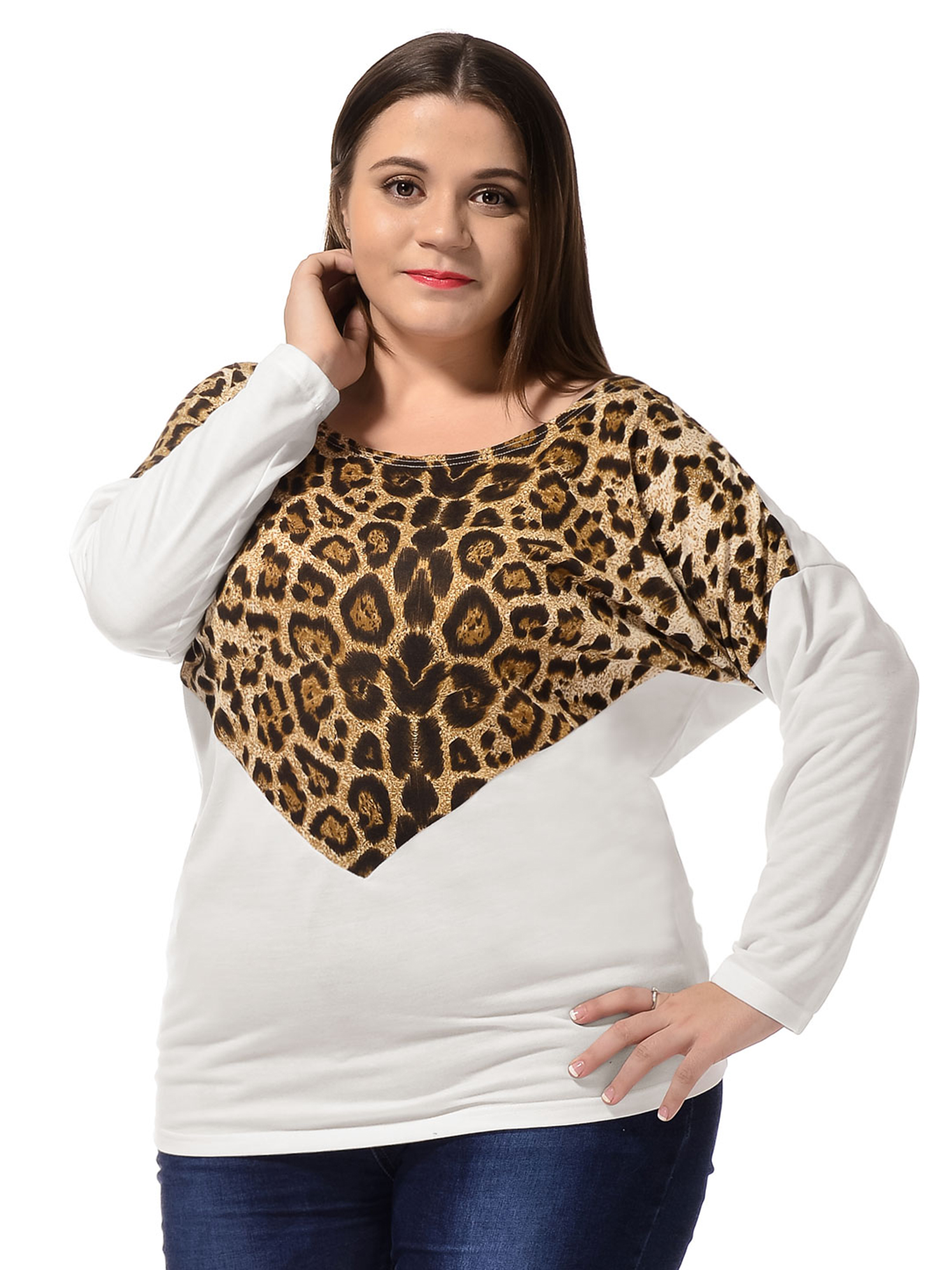Scoop Neck Fashional Knitted Tee Shirt for Lady Plus Size