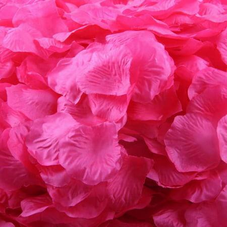 Mosunx 1000pcs Hot Pink Silk Rose Artificial Petals Wedding Party Flower Favors (Hot Pink Decor)