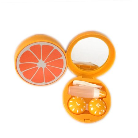OH Fashion Contact Lens Case kit Fruits style Orange with mirror tweezer and holder travel case ,