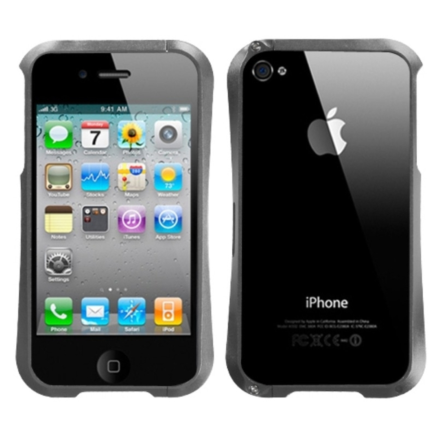 Insten Gray Nitro Surround Shield with Chrome Coating Metal Case For APPLE iPhone 4S/4