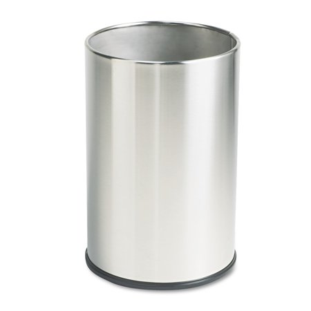 Rubbermaid Commercial European & Metallic Series Wastebasket, Round, 5gal, Satin Stainless