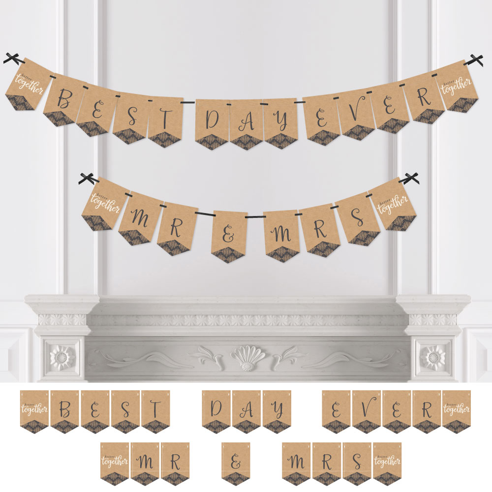 Better Together - Wedding & Bridal Shower Bunting Banner - Brown Party Decorations - Best Day Ever Mr & Mrs
