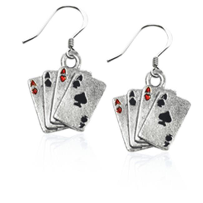 Whimsical Gifts 641S-ER Aces Charm Earrings, Silver