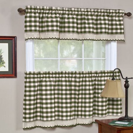 "Buffalo Check Tier Curtains and Valance Set, Macrame Lace Border Trim, 24"" Long Tiers and Valance Top, Sage Green"