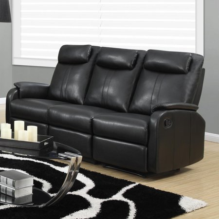 Monarch Reclining Sofa Black Bonded Leather