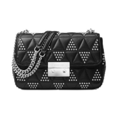 Michael Kors NWT $398 Black Sloan Studded Quilted Leather Shoulder to Crossbody