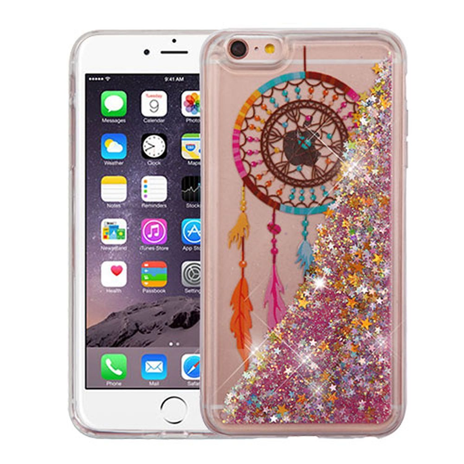 iPhone 6s Plus Case, iPhone 6 Plus Case, by Insten Quicksand Glitter Dreamcatcher Dual Layer [Shock Absorbing] Hybrid Hard Plastic/Soft TPU Rubber Case For Apple iPhone 6 Plus/6s Plus, Multi-Color