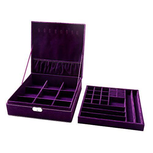 Blue KLOUD City Two-Layer lint Jewelry Box Organizer Display Storage case with Lock