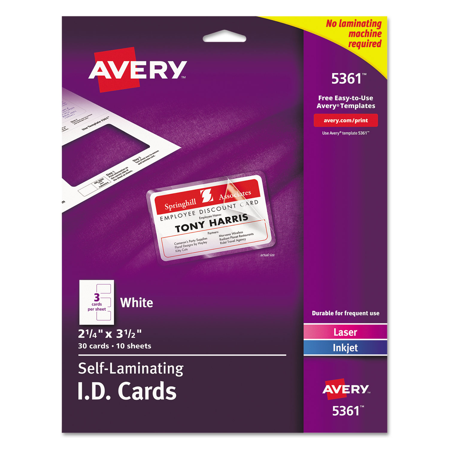 "Avery Self-Laminating ID Cards 5361, 2"" x 3-1/4"", Box of 30"