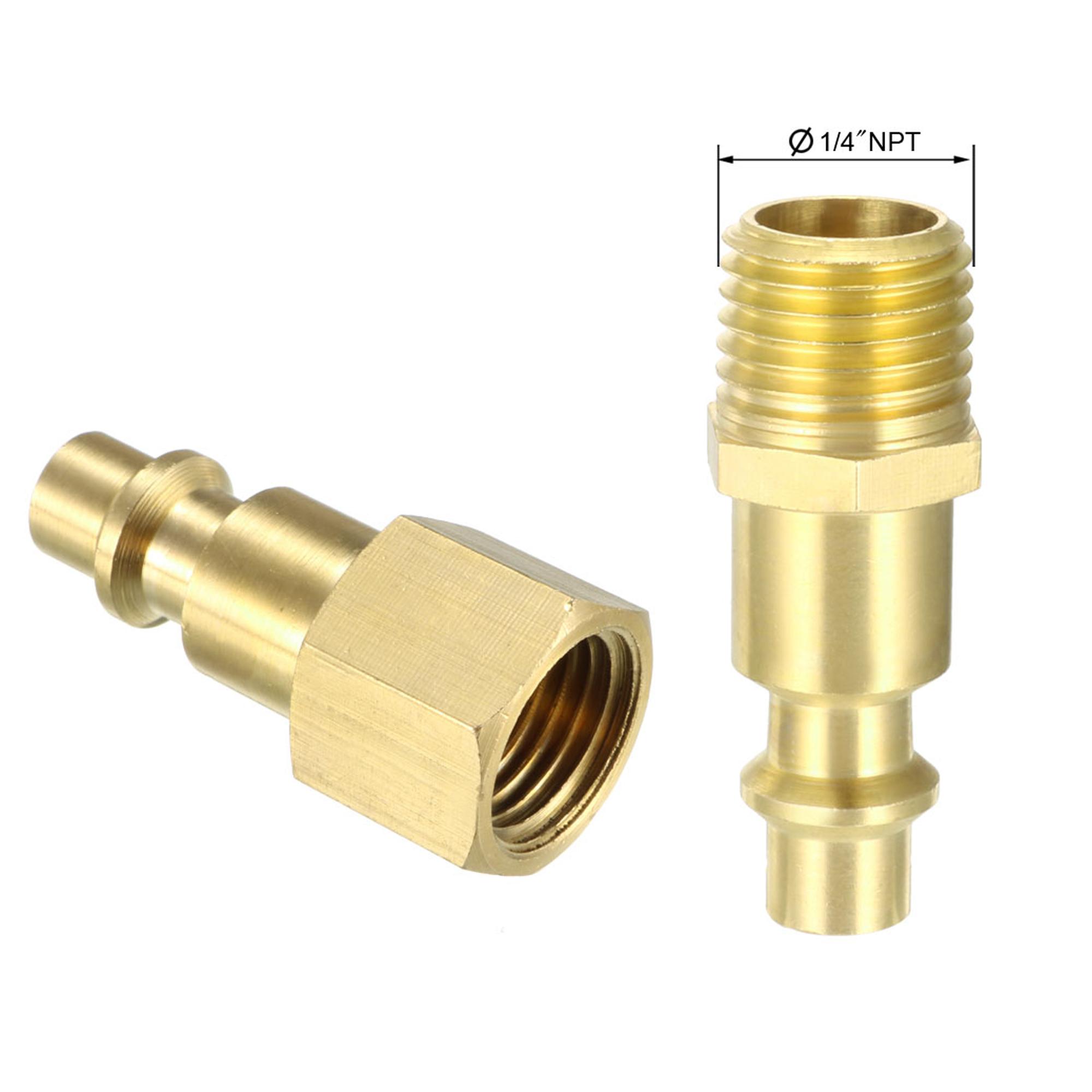"""Coupler & Plug Kit (5 Piece) , 1/4"""" NPT Male/Female Brass Industrial Quick-Connect Fitting Quick Coupler Set - image 2 de 4"""