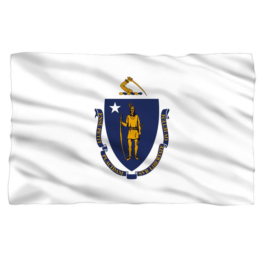 Massachusettes Flag Fleece Blanket