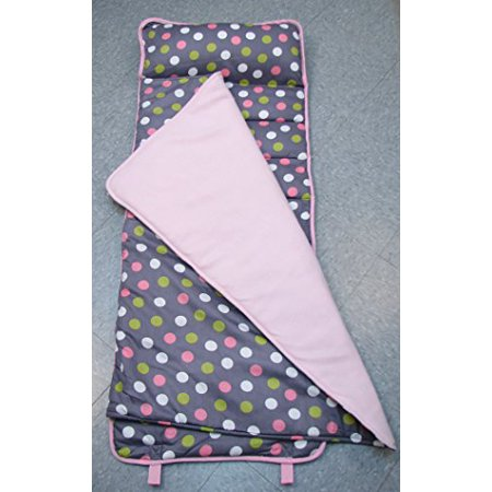 SoHo Daycare Nap Mat | Lightweight Easy Rollup w/ Carrying Strap and Removable Pillow (Pinkalicious Polka Dot)