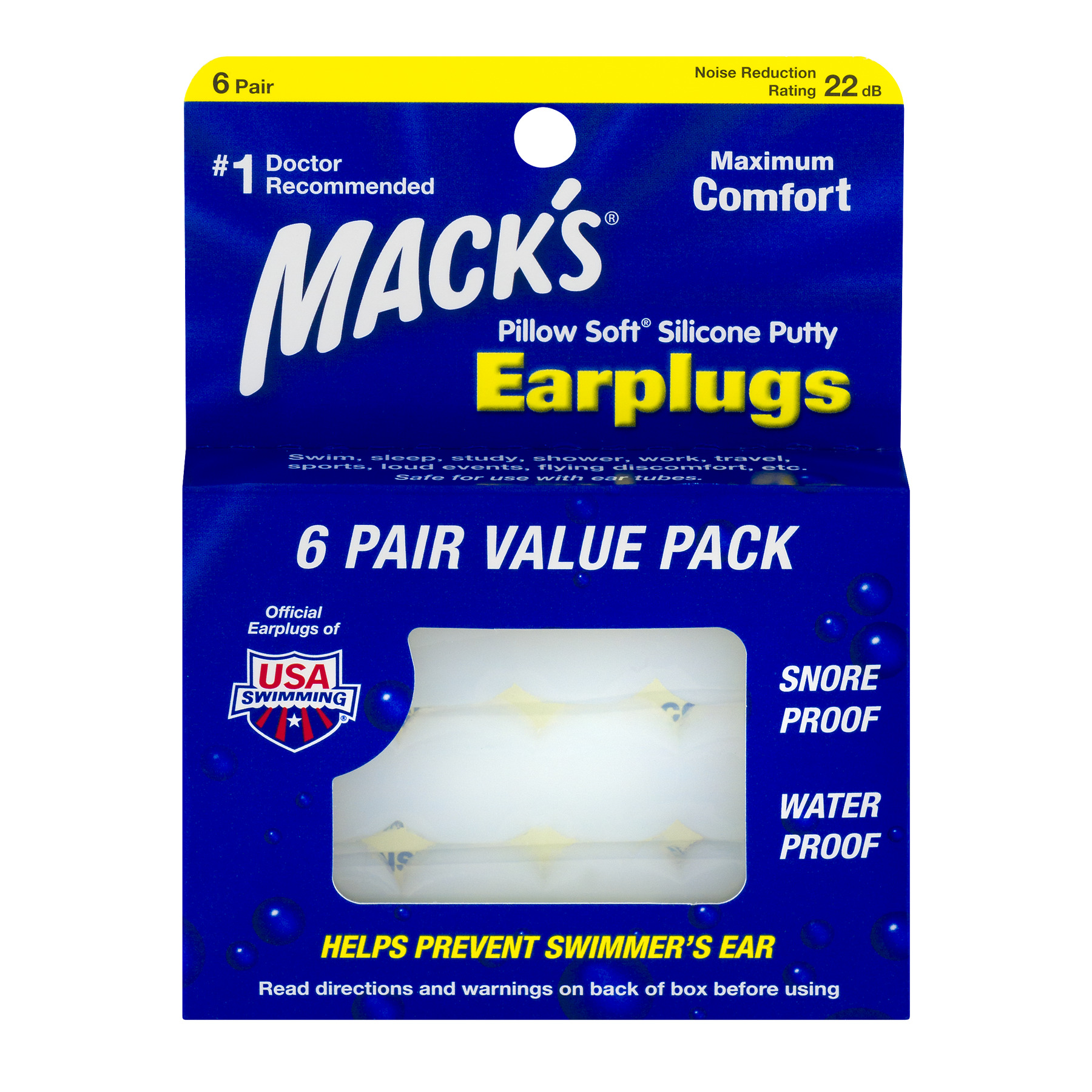 Mack's Pillow Soft Silicone Putty Earplugs, 6 Ct.