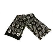 "60"" Unisex Black Jacquard Knit Winter Scarf"