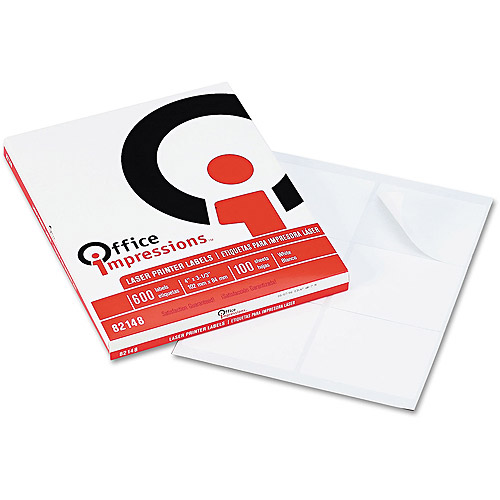 Office Impressions Laser Printer Labels, White, 600-Pack