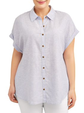 ab8864c2536 Product Image Women s Plus Size Short Sleeve Roll Tab Linen Button Front Top