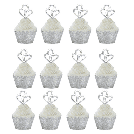 12pk double heart wedding bridal shower cupcake toppers w silver glitter wrappers