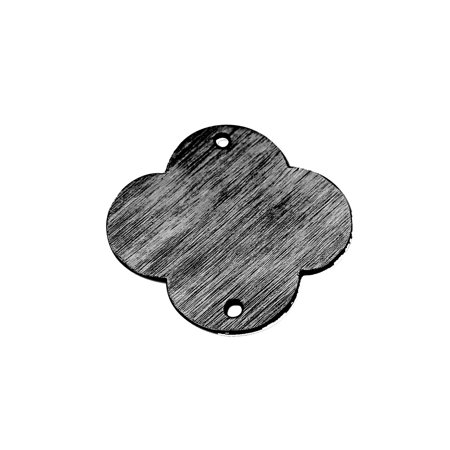 BR-272-18MM Black Rhodium Overlay Quatrefoil Shape Chip Bead (Quatrefoil Beads)