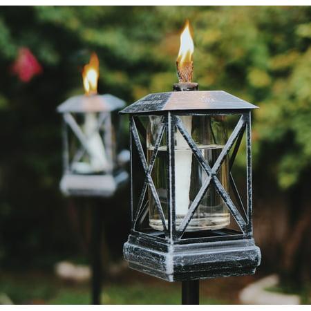 TIKI® Brand 65-Inch Square Beacon Metal Torch Black 2-pack and Petite Lantern Metal Table Torch Black - Tiki Lanterns