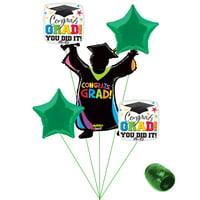 Congrats Grad You Did It Colorful School Colors Graduation 5pc Balloon Pack