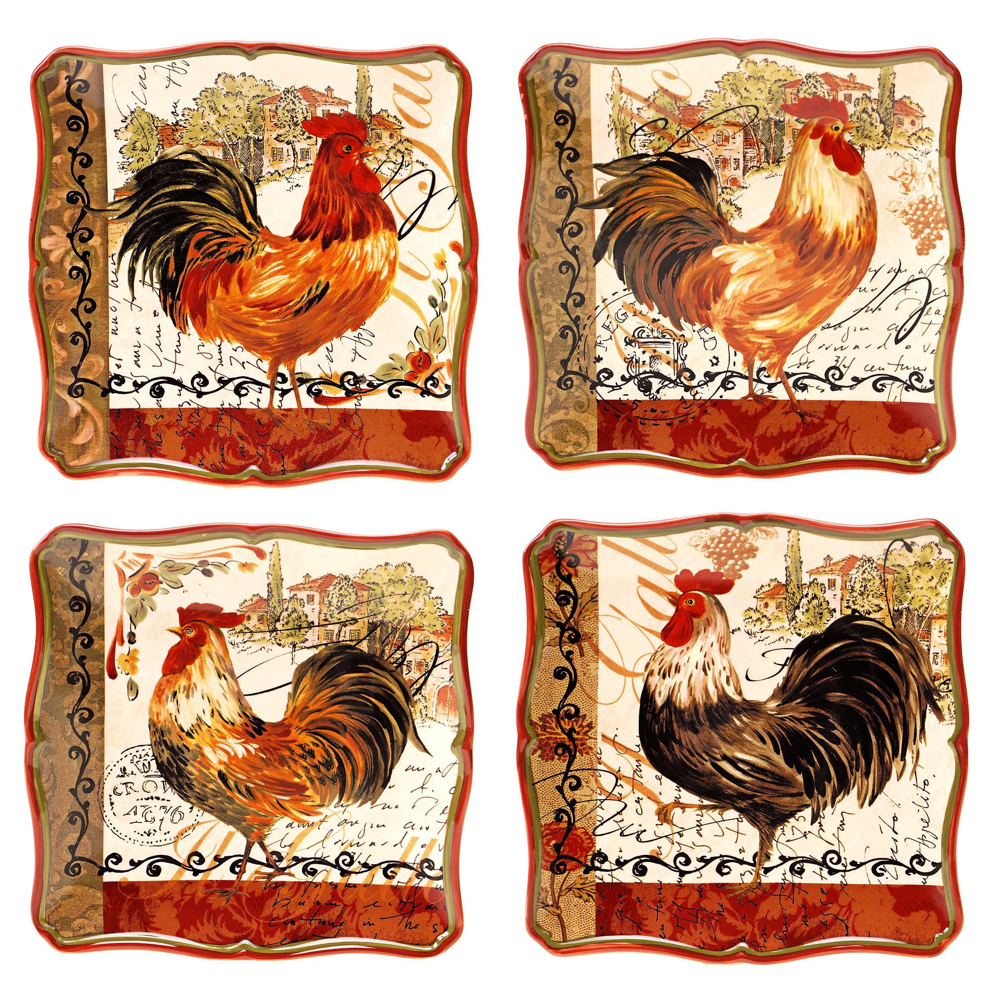 Certified International  Assorted Design Tuscan Rooster 8.5-inch Salad/ Dessert Plate (Set of 4)