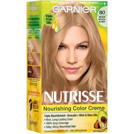 (Garnier Nutrisse Nourishing Hair Color Creme (Blondes), 80 Medium Natural Blonde (Butternut), 1 kit)
