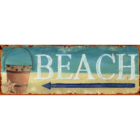 Barnyard Designs Beach This Way Retro Vintage Tin Bar Sign Country Home Decor 14  X 5