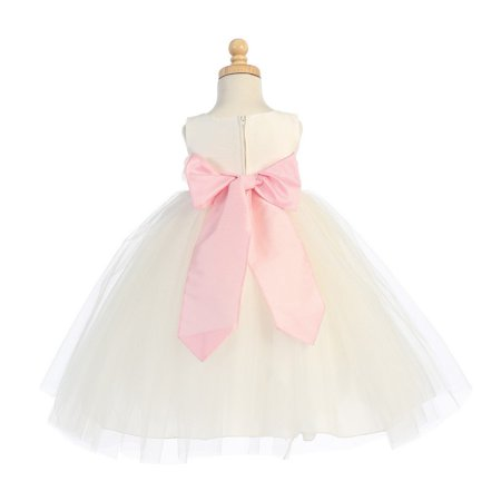 Baby Girls Ivory Pink Sash Poly Silk Tulle Flower Girl Dress 6-12M