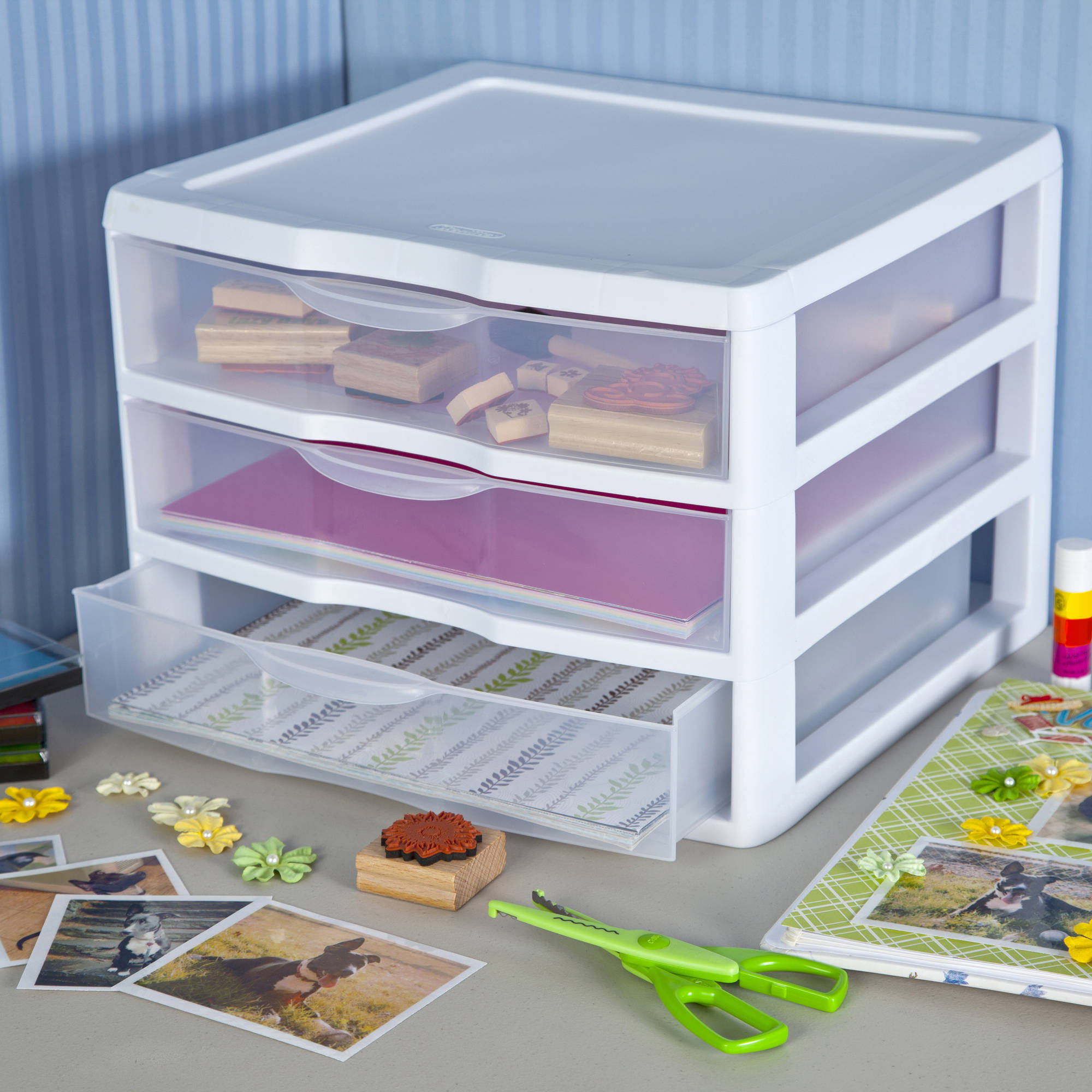 Sterilite Wide 3 Drawer Unit- White (Available in Case of 3 or Single Unit)