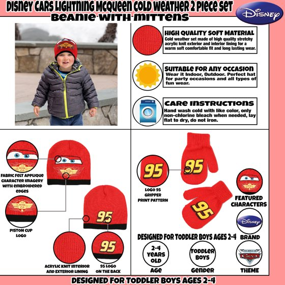 8be39bcaf54 Disney - Disney Cars Lightning McQueen Hat and Mittens Cold Weather ...
