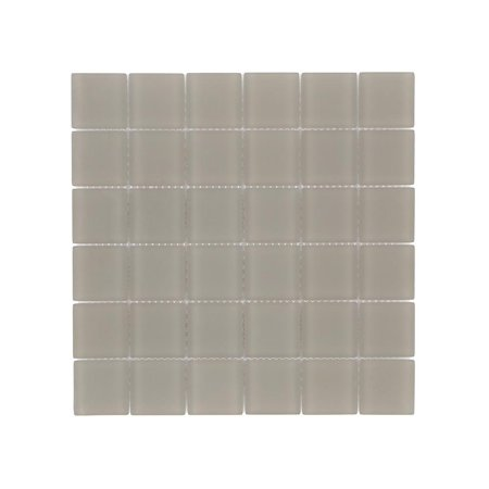 Mini Glass Gems Mosaic Tiles - MTO0394 Classic 2X2 Squares Champagne Beige Frosted Glass Mosaic Tile