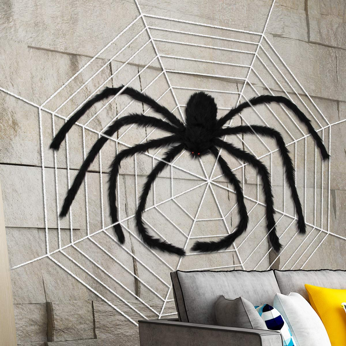 79 Inch Black Aiduy Outdoor Halloween Decorations Scary Giant Spider Fake Large Spider Hairy Spider Props for Halloween Yard Decorations Party Decor