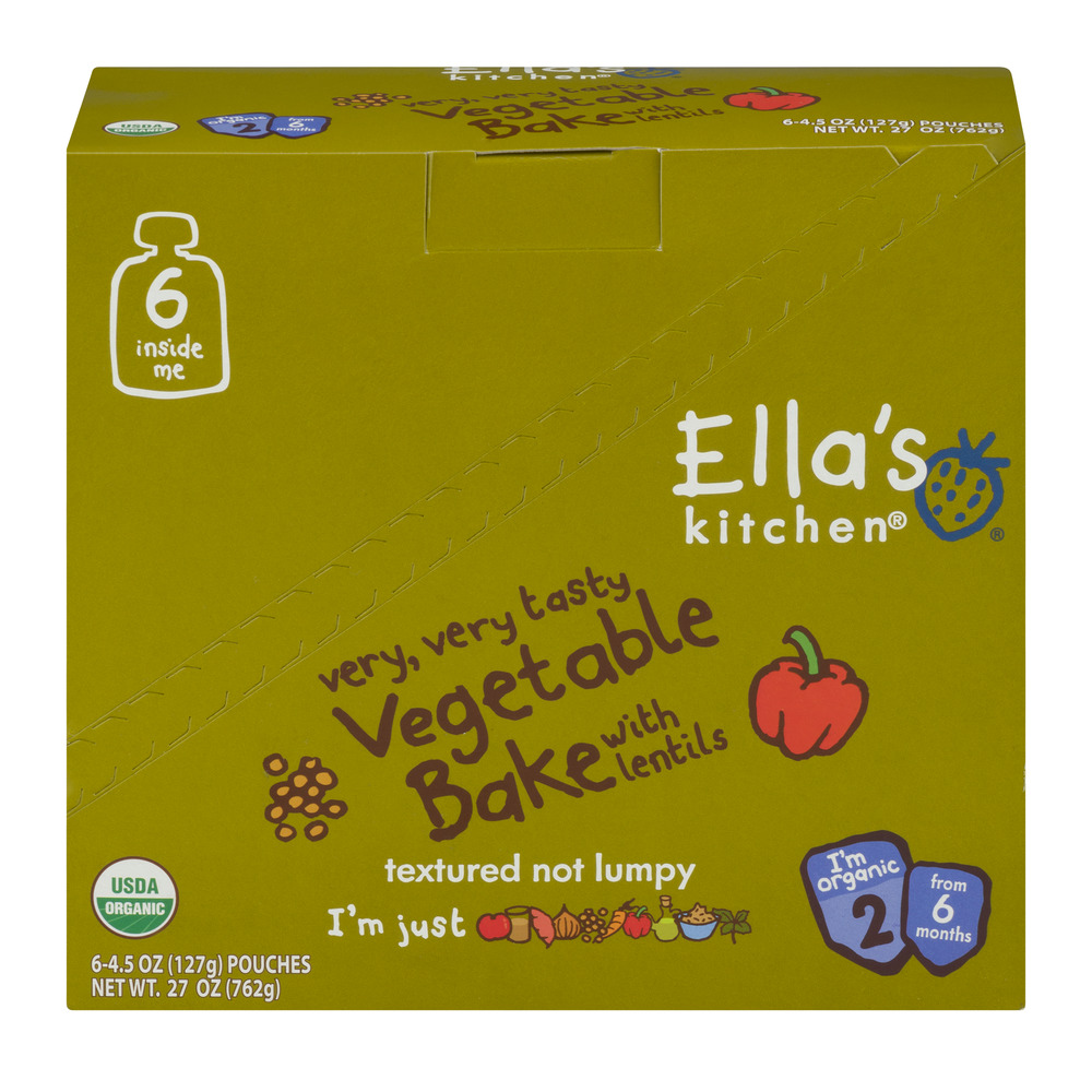 Ella's Kitchen 6+ Months Organic Baby Food, Vegetable Bake with Lentils, 4.5 oz. (Pack of 6)