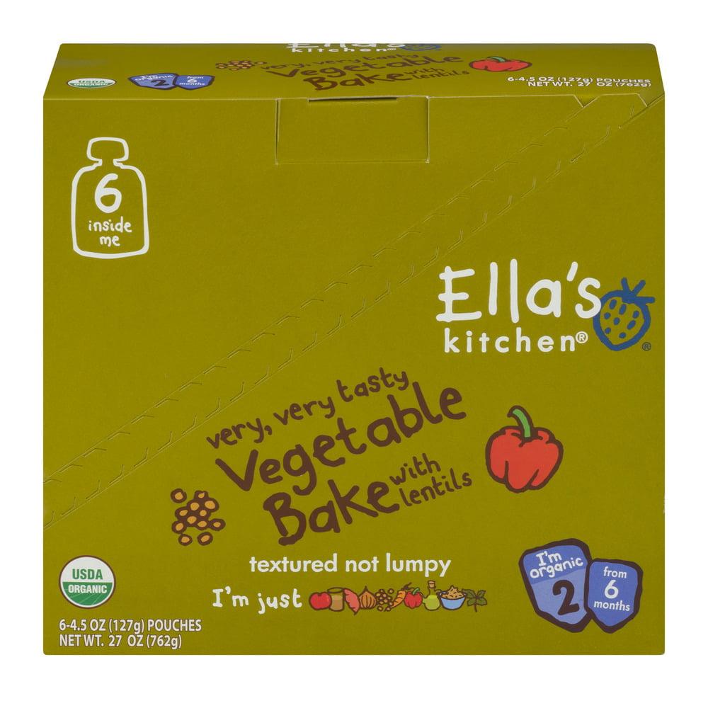 (6 Pack) Ella's Kitchen 6+ Months Organic Baby Food, Vegetable Bake with Lentils, 4.5 oz