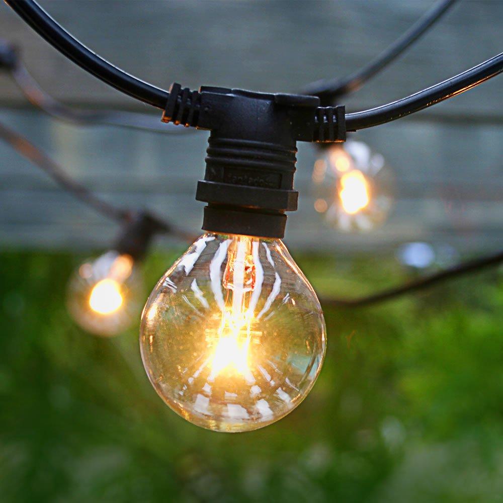 Attirant Fantado 50 Socket Outdoor Commercial Grade Patio String Light Set, G40  Clear Globe Bulbs, 54 FT Black Cord W/ E12 C7 Base, Weatherproof By ...