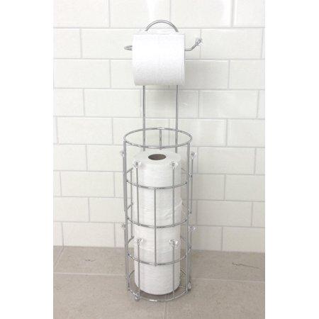Splash Home Bijou Free Standing Toilet Paper Holder Storage For Bathroom Chrome
