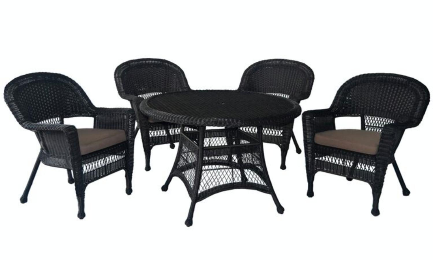 5-Piece Espresso Wicker Chair & Table Patio Dining Furniture Set Brown Cushions by CC Outdoor Living